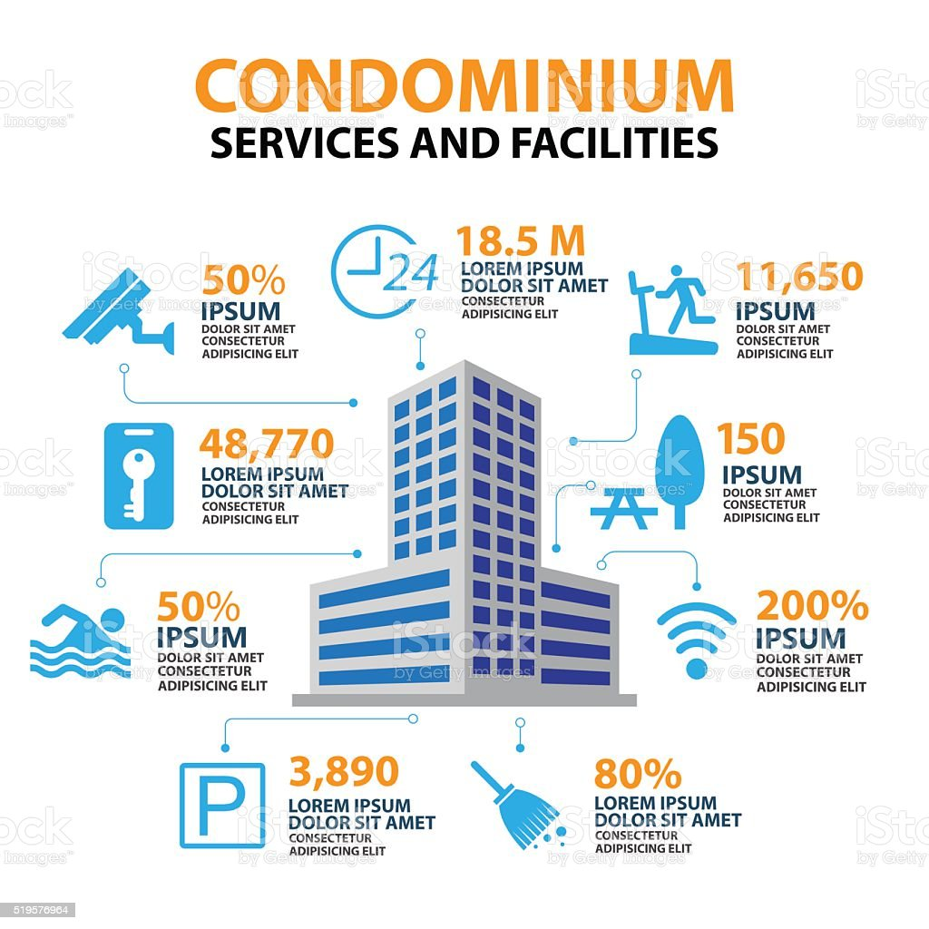 hotel condominium and home Services and Facilities Icon vector art illustration