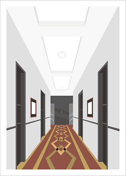illustrations, cliparts, dessins animés et icônes de hotel corridor simple illustration - couloir