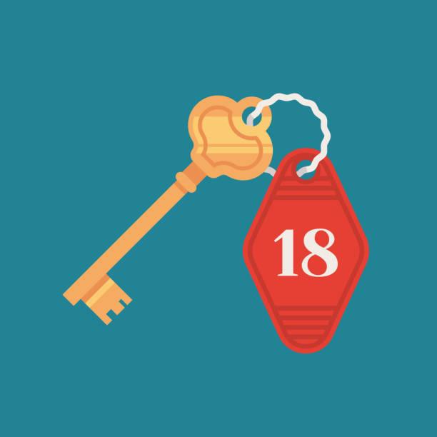 klucz do zamka drzwiowego hotelu z plakietką z numerem pokoju. retro złoty klucz. ilustracja wektorowa w płaskiej konstrukcji. - motel stock illustrations