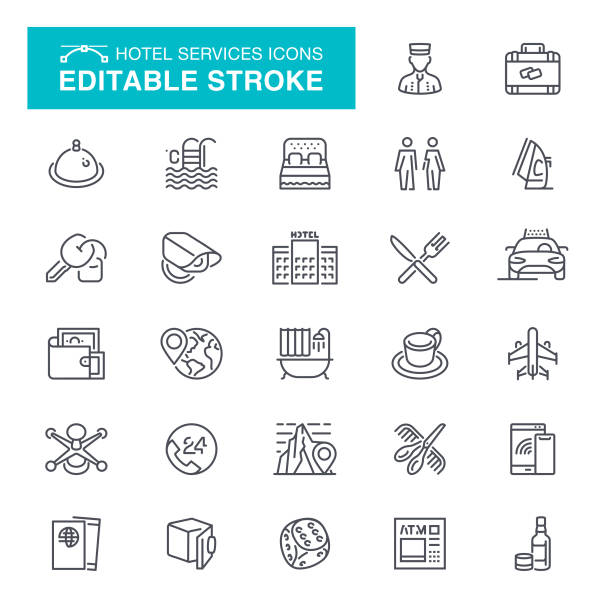 Hotel Editable Stroke Icons Hotel, Restaurant, Bar - Drink Establishment, Hotel Reception, Editable Stroke Icon Set hotel stock illustrations