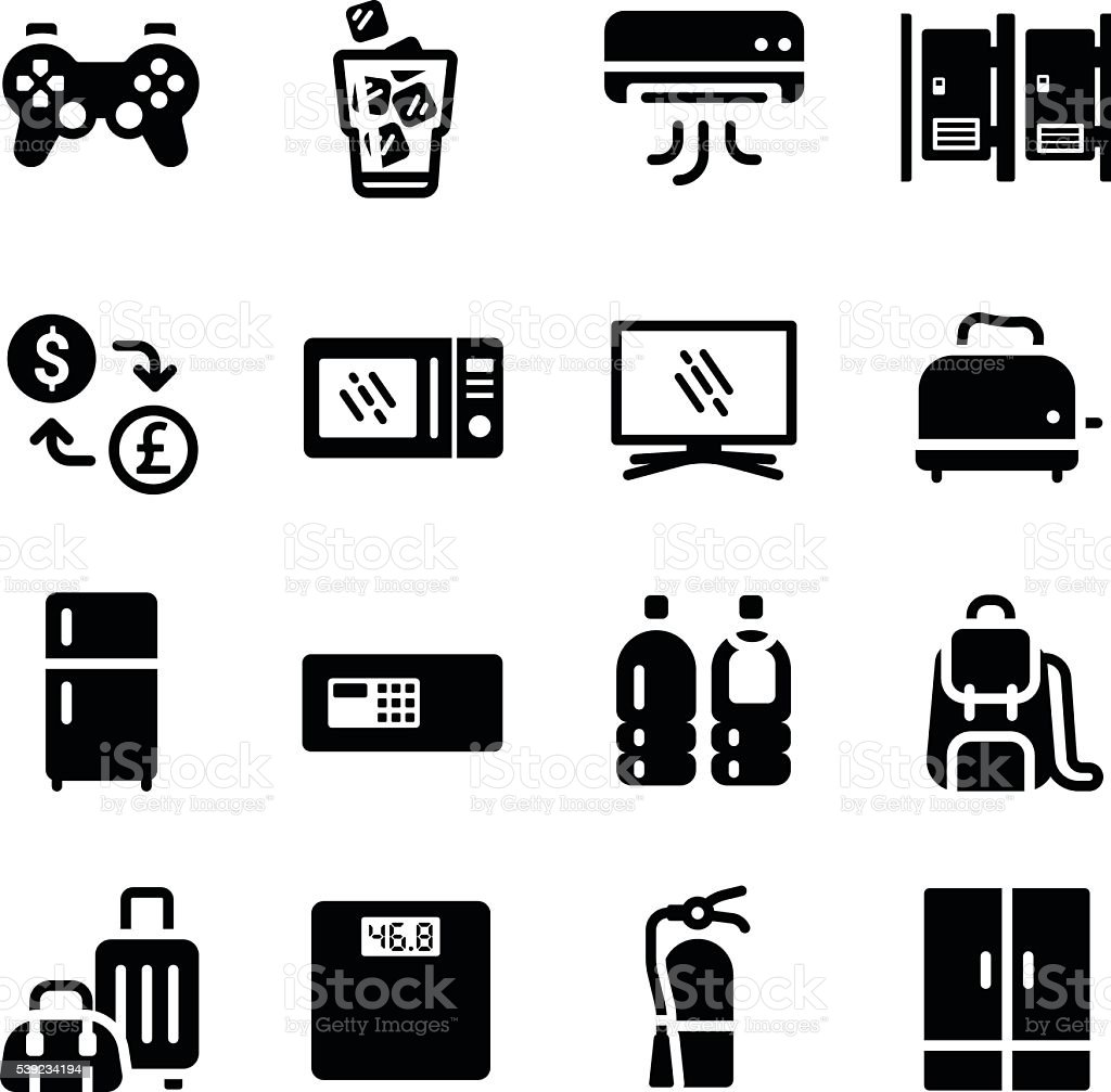 Hotel Facilities Amenities Vector Icon Set royalty-free hotel facilities amenities vector icon set stock vector art & more images of backpack