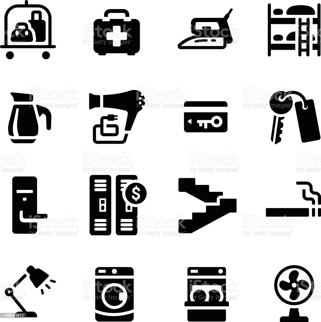 Hotel Facilities Amenities Vector Icon Set royalty-free hotel facilities amenities vector icon set stock vector art & more images of accidents and disasters