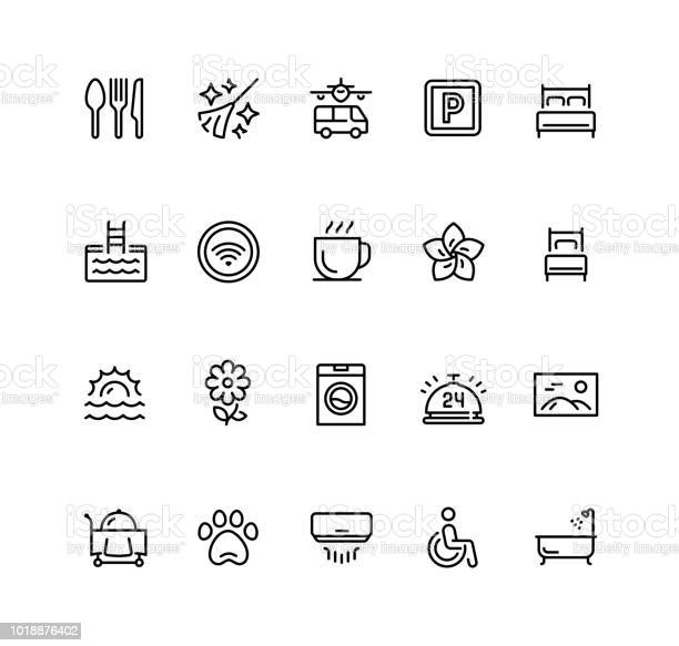 Hotel facilities and services vector icon set in outline style vector id1018876402?b=1&k=6&m=1018876402&s=612x612&h=dybjd0agl1zqod1syogqljc3hoxpzpzt4ldtul1l9lw=