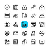 Hotel facilities, hotel services line icons set. Modern graphic design concepts, simple outline elements collection. 32x32 px. Pixel perfect. Vector line icons