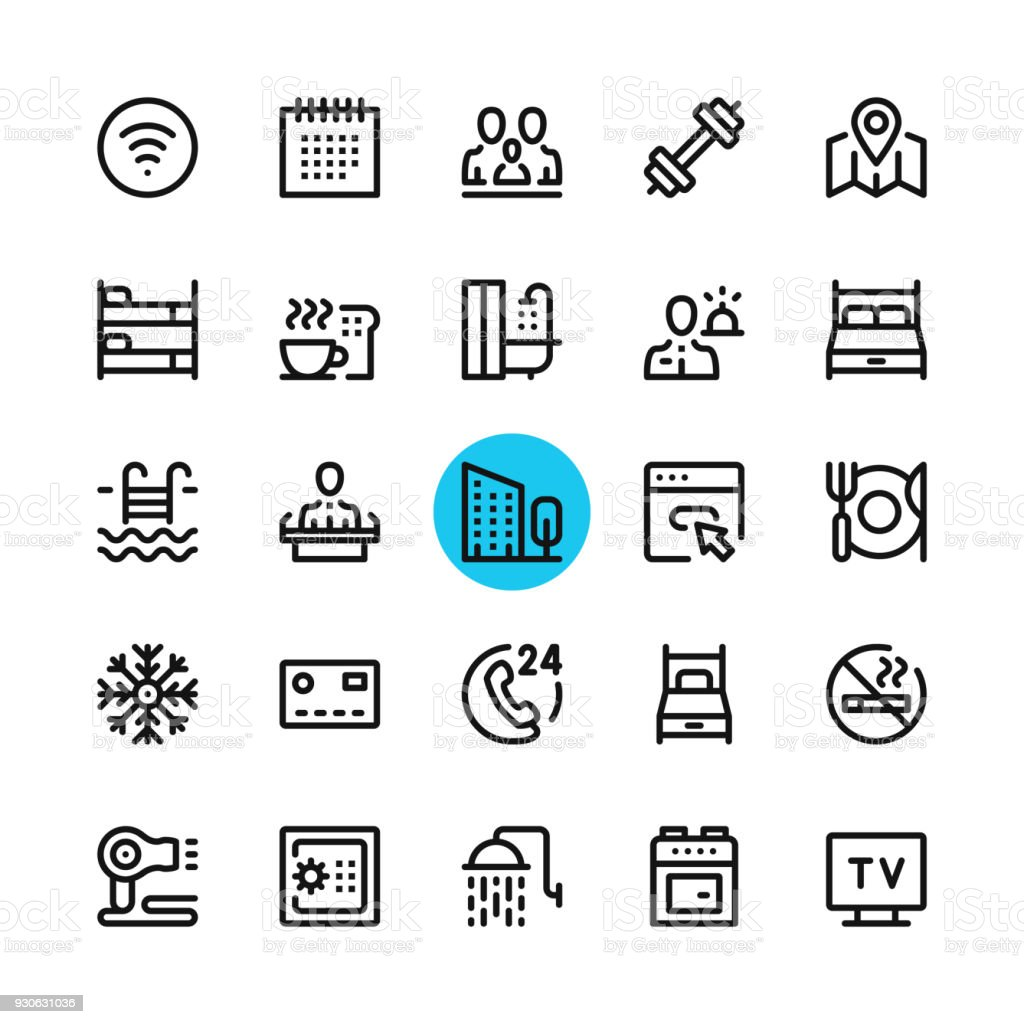 Hotel facilities, hotel services line icons set. Modern graphic design concepts, simple outline elements collection. 32x32 px. Pixel perfect. Vector line icons vector art illustration