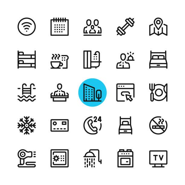 hoteleinrichtungen, linie hoteldienstleistungen icons set. moderne grafik-design-konzepte, einfache gliederung kollektion elements. 32 x 32 px. pixel perfekt. vektor-linie-icons - mittel stock-grafiken, -clipart, -cartoons und -symbole