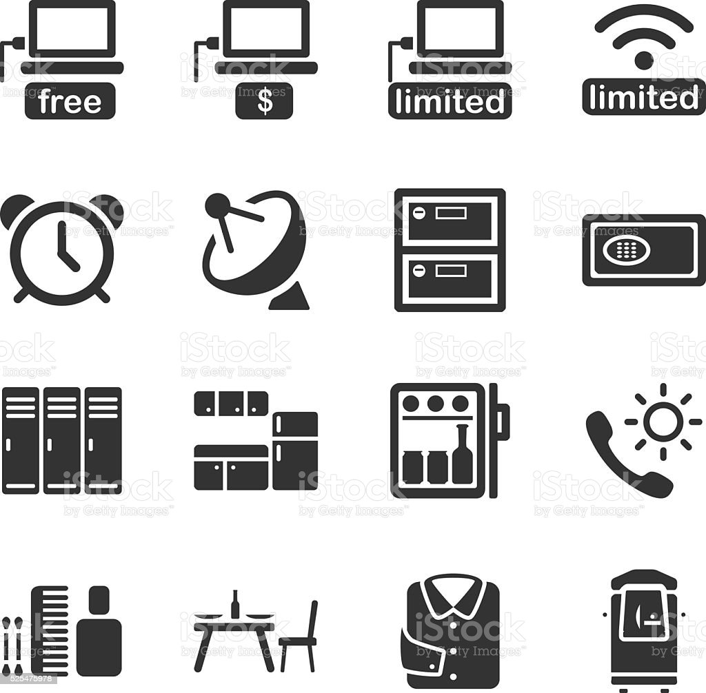 Hotel Facilities Icon Set 01 Stock Vector Art More Images Of Alertness 525475978 Istock