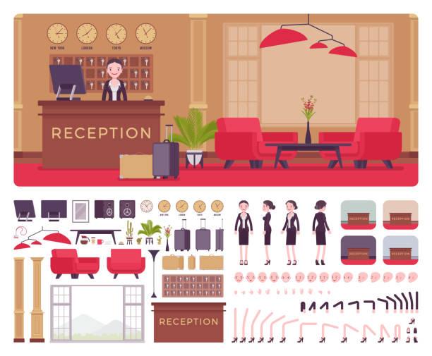 illustrations, cliparts, dessins animés et icônes de hôtel femme réceptionniste dans le hall de construction ensemble - hall d'accueil