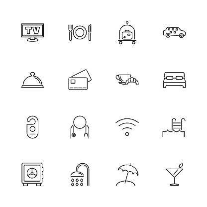 Hotel - Flat Vector Icons