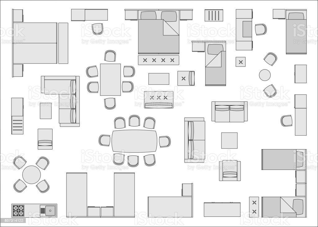 Hotel Furniture Top View Stock Illustration Download Image