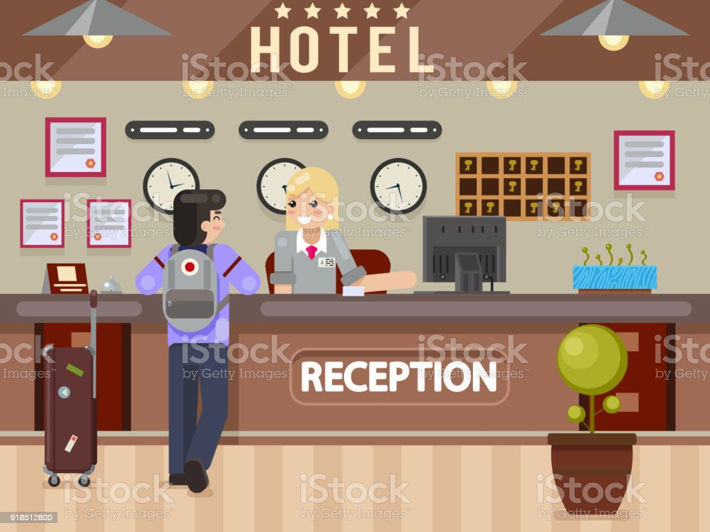 Hotel girl receptionist answers questions traveler guest reception desk flay design vector illustration vector art illustration