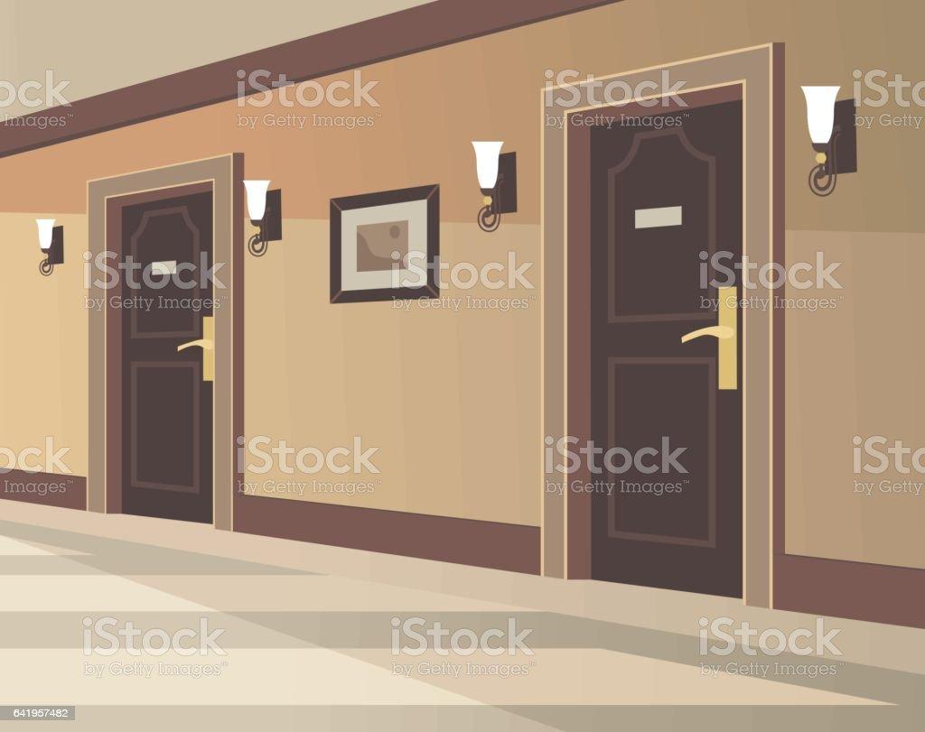 Hotel Hallway vector art illustration