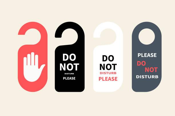 Hotel hanger sign, door knob. Do not disturb. Do Not Disturb Sign. Hotel Door Hanger Tags, Messages please do not disturb. Hotel hanger sign, door knob. Do not disturb. Do Not Disturb Sign. Hotel Door Hanger Tags, Messages please do not disturb. door stock illustrations
