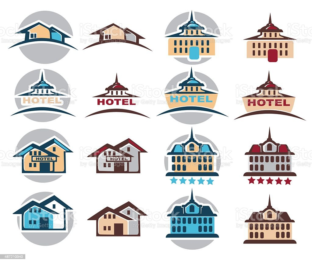 Hotel Home Cottage Building Icon Logo Emblem Royalty Free