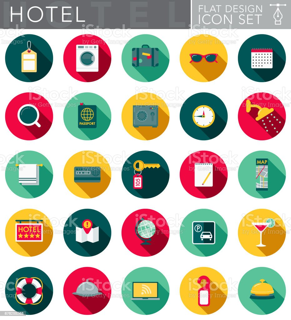 Hotel & Hospitality Flat Design Icon Set with Side Shadow vector art illustration
