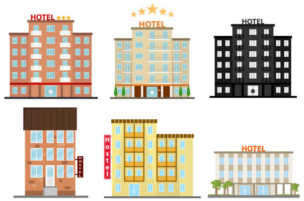 Hotel, hotel icon, hostel icon. Flat design, vector illustration, vector. Hotel, hotel icon, hostel icon. Flat design, vector illustration, vector. hotel stock illustrations