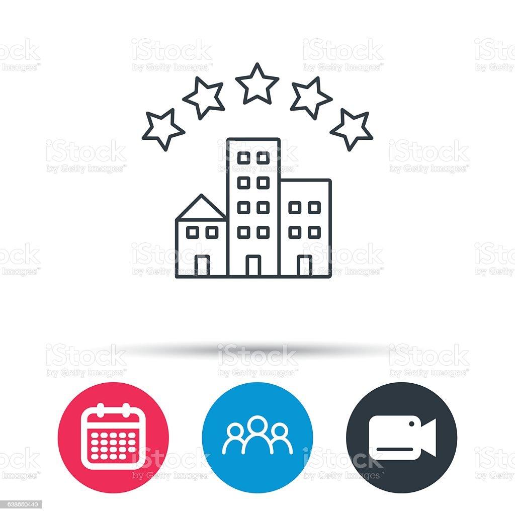 Hotel icon. Five stars service sign. vector art illustration