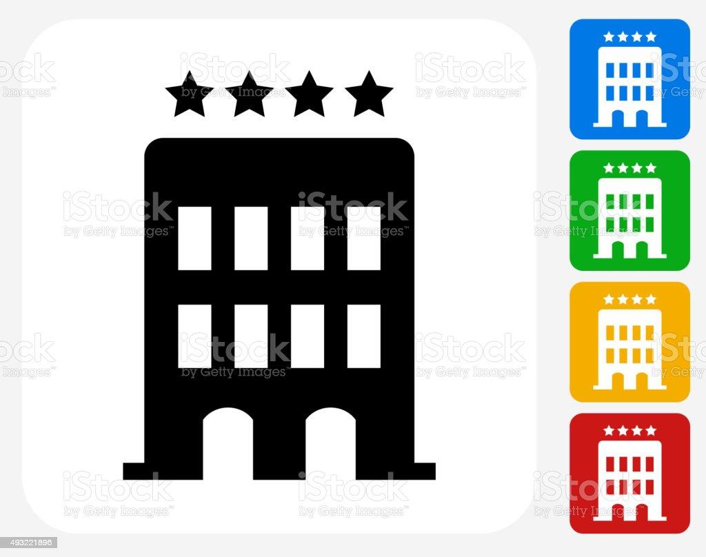 Hotel Icon Flat Graphic Design vector art illustration