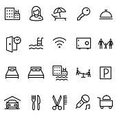 Hotel, icon set. Editable stroke
