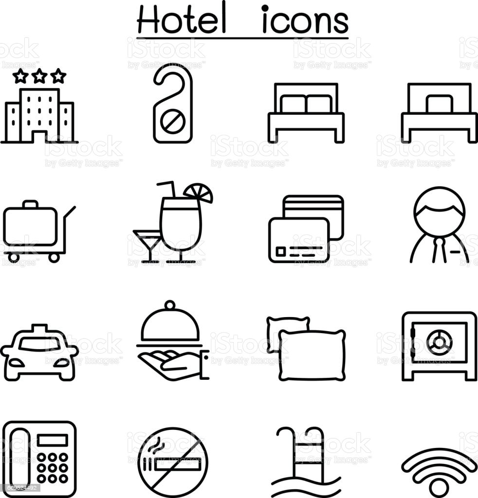 Hotel icon set in thin line style vector art illustration