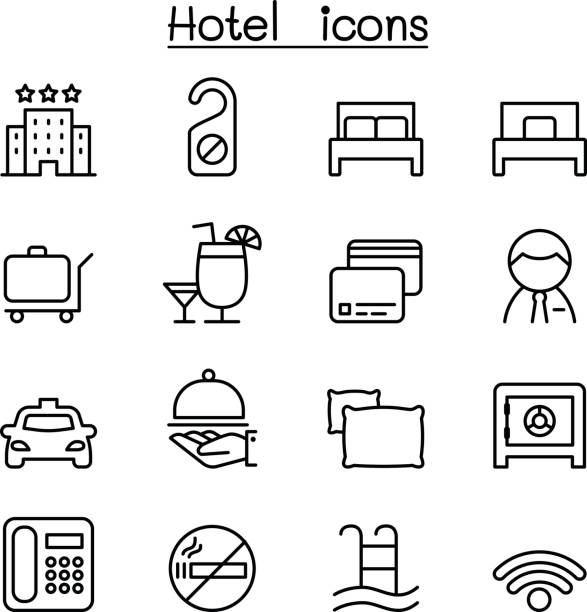 Hotel icon set in thin line style Hotel icon set in thin line style hotel stock illustrations