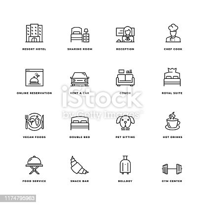 Simple Set of Hotel Related Vector Line Icons. Contains such Icons as Double Bed, Room Service,  Lobby, Wi-Fi and more. Editable Stroke. 32X32 Pixel Perfect.