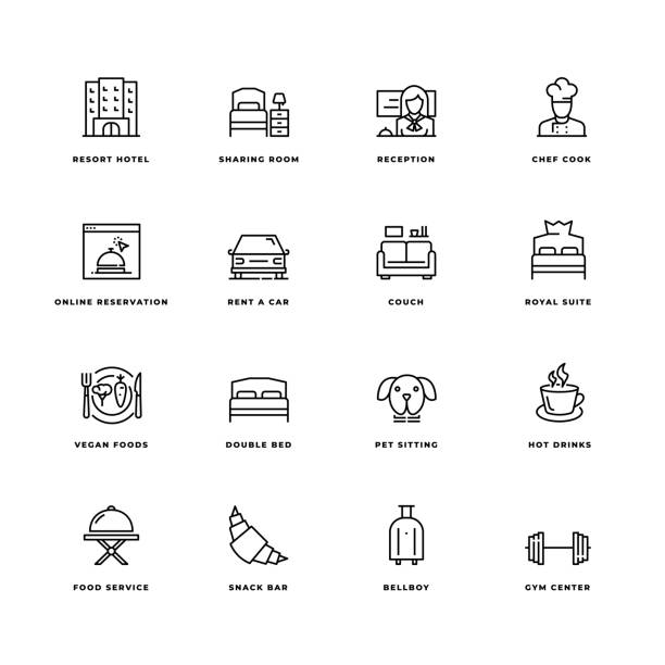 Hotel Icon Set Simple Set of Hotel Related Vector Line Icons. Contains such Icons as Double Bed, Room Service,  Lobby, Wi-Fi and more. Editable Stroke. 32X32 Pixel Perfect. hotel stock illustrations