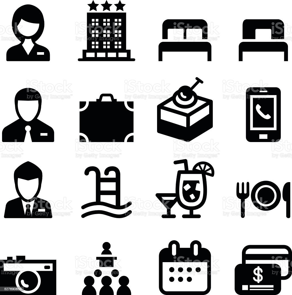 Hotel icon set vector art illustration