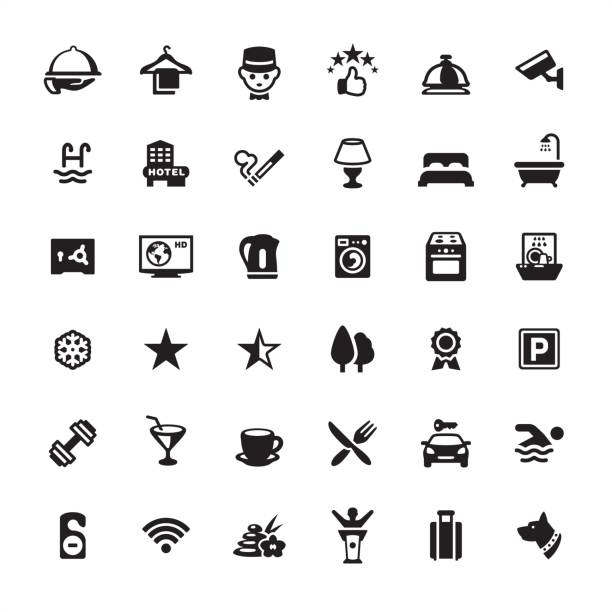 hotel icon-set - betttablett stock-grafiken, -clipart, -cartoons und -symbole