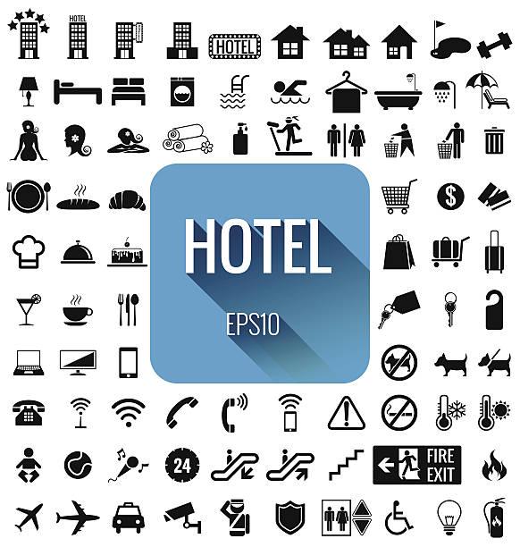 stockillustraties, clipart, cartoons en iconen met hotel icon set vector - voedsel en drank serveren