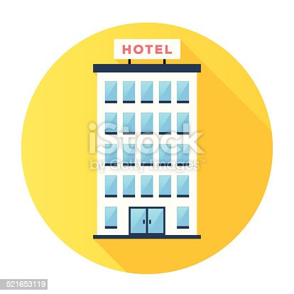 Flat & Long Shadow Hotel Building Icon