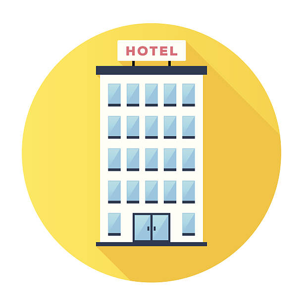 Hotel Icon Flat & Long Shadow Hotel Building Icon hotel stock illustrations