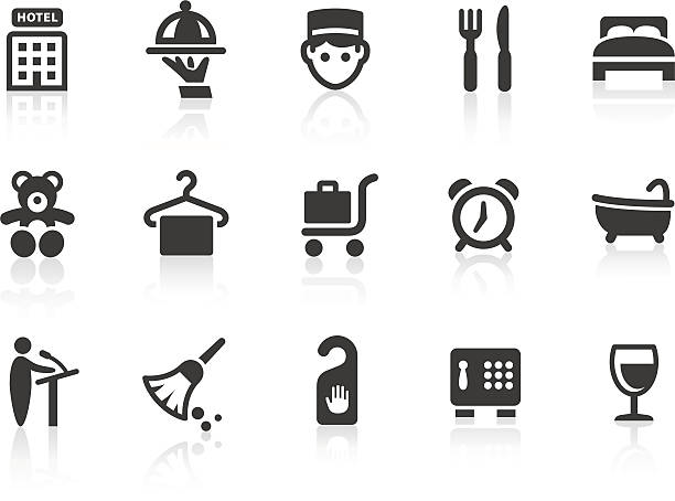 hotel icon 1 - betttablett stock-grafiken, -clipart, -cartoons und -symbole