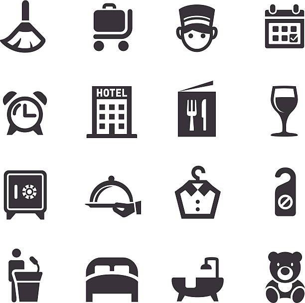 hotel icon-acme series - betttablett stock-grafiken, -clipart, -cartoons und -symbole