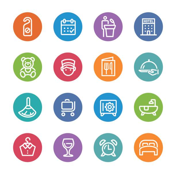 hotel icons - circle line serie - betttablett stock-grafiken, -clipart, -cartoons und -symbole