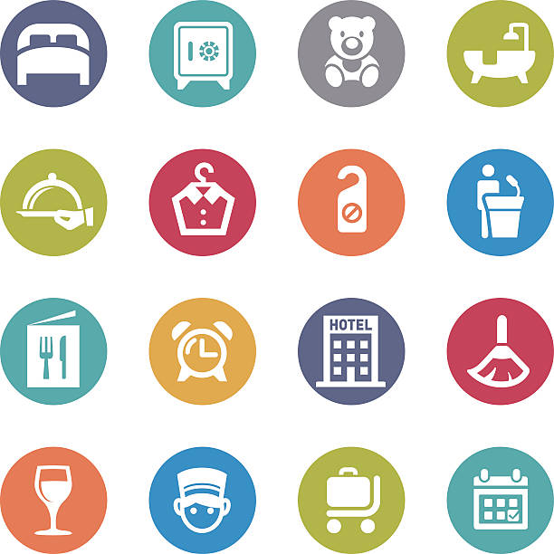 hotel icons-kreis serie - betttablett stock-grafiken, -clipart, -cartoons und -symbole