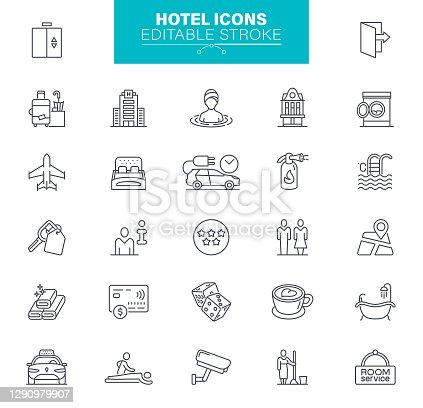istock Hotel Icons Editable Stroke 1290979907