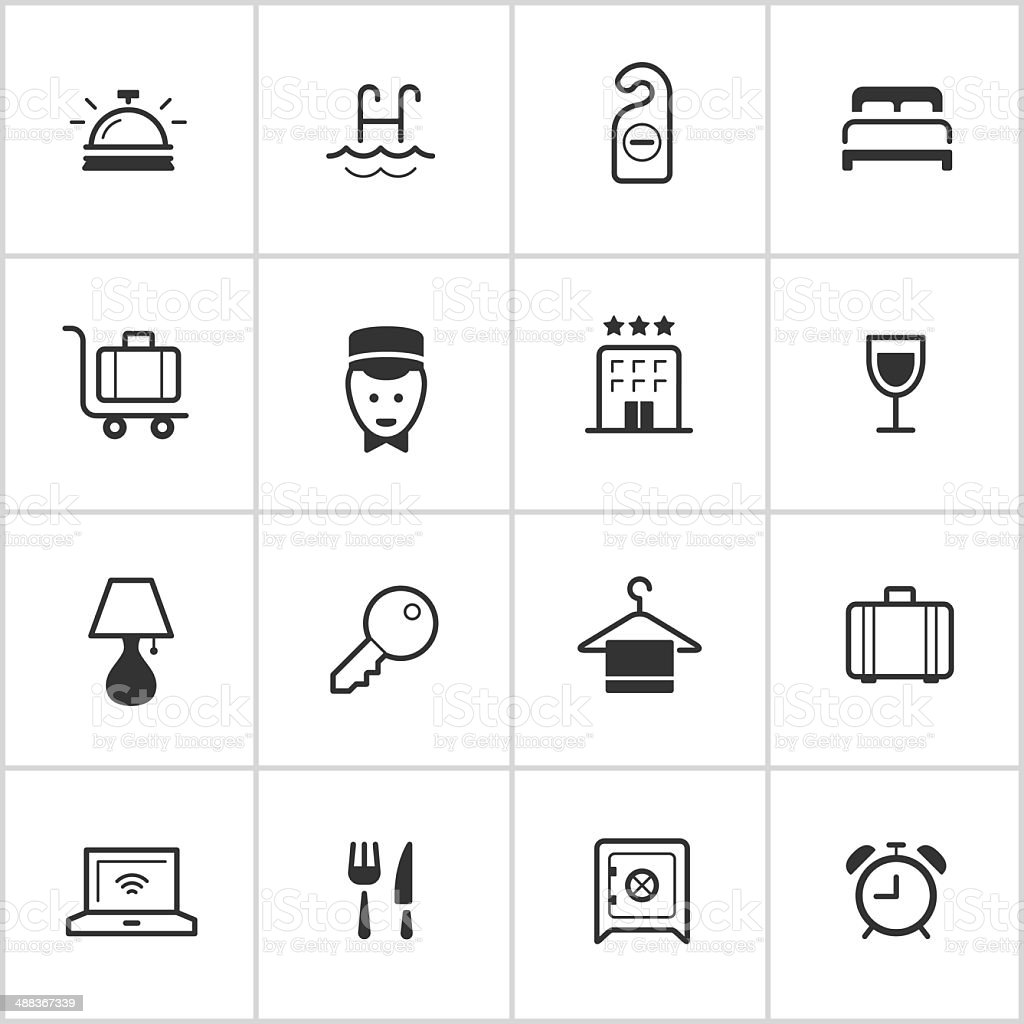 Hotel Icons — Inky Series vector art illustration