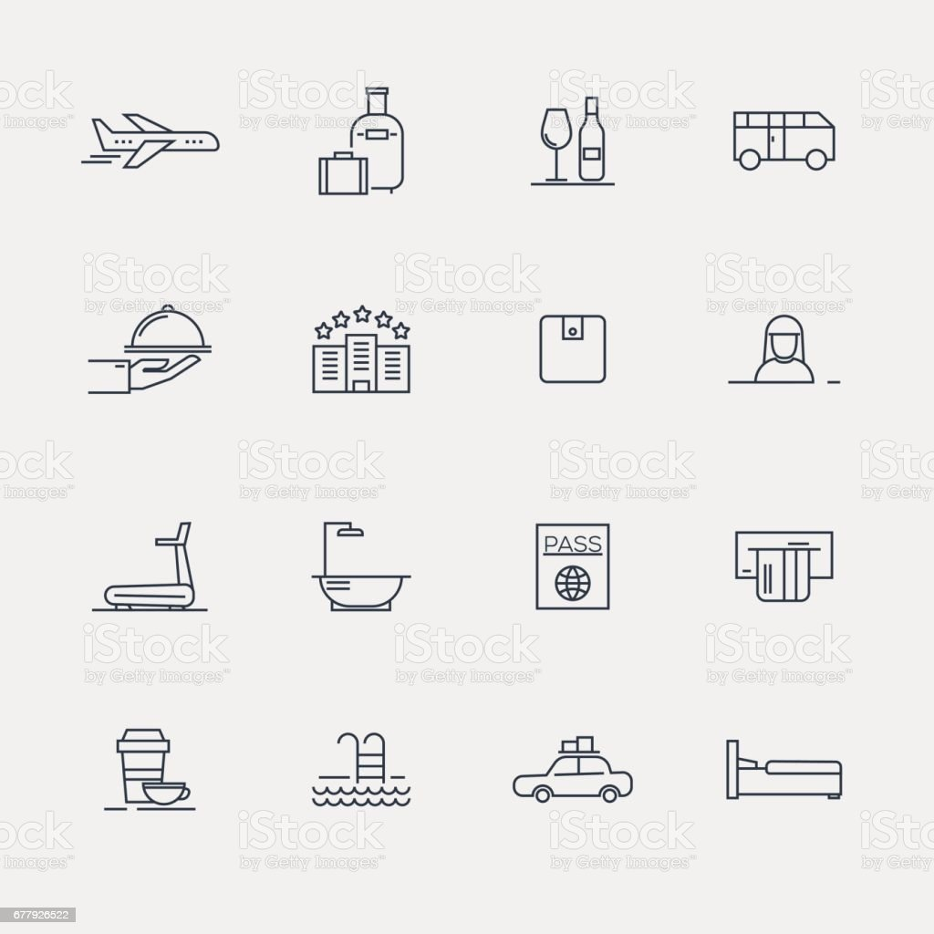 Hotel Icons - Line Series vector art illustration