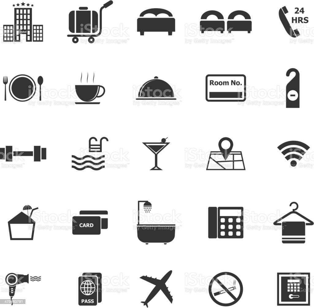 Hotel icons on white background vector art illustration