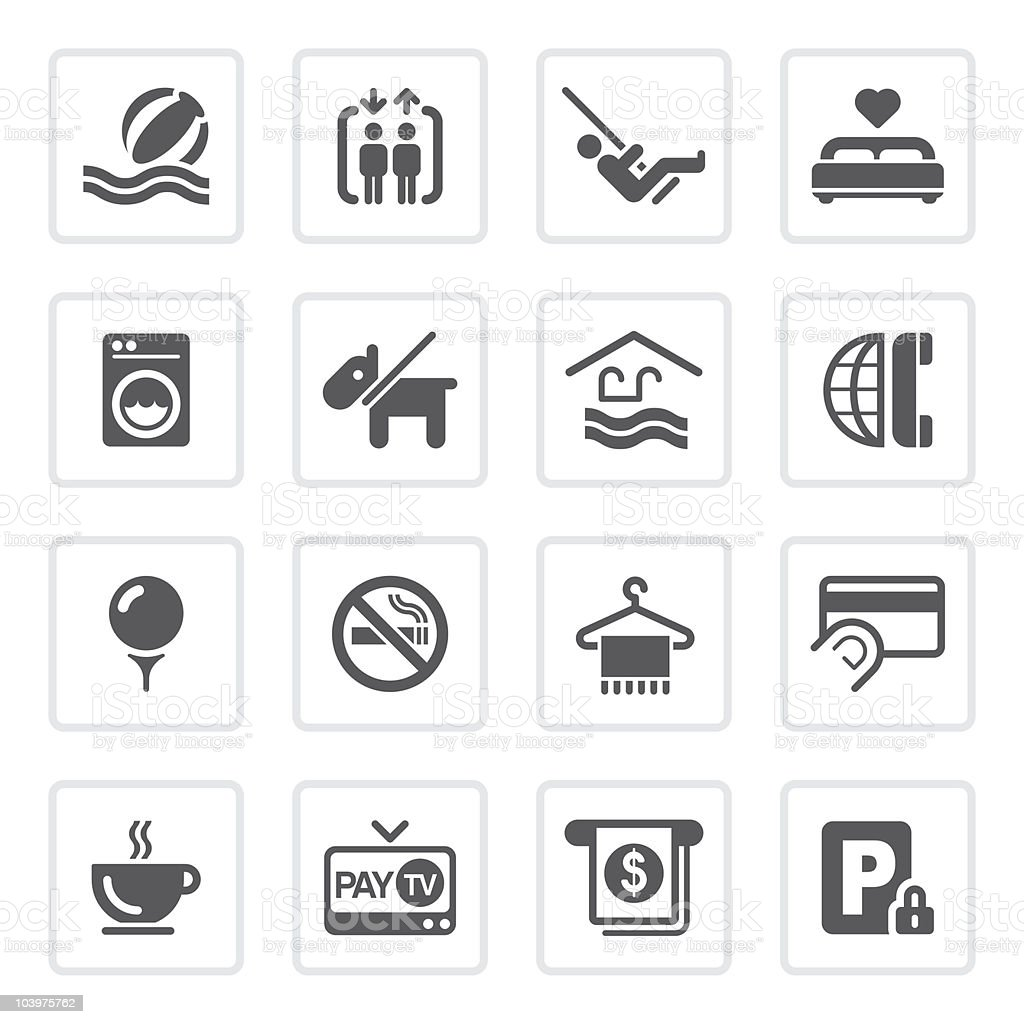 Hotel icons (1 of 2)   prime series vector art illustration