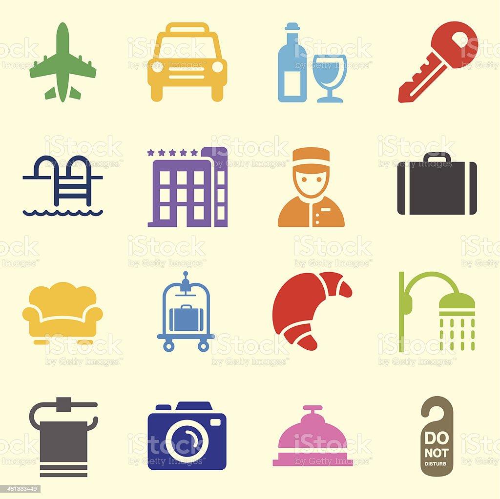 Hotel Icons Set 2 - Background vector art illustration