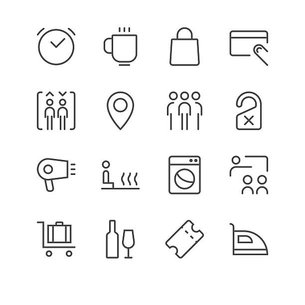 hotel icons set 2 | black line series - sauna stock-grafiken, -clipart, -cartoons und -symbole