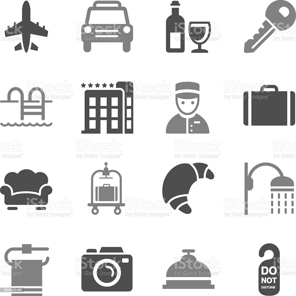 Hotel Icons Set 2 Gray Color vector art illustration