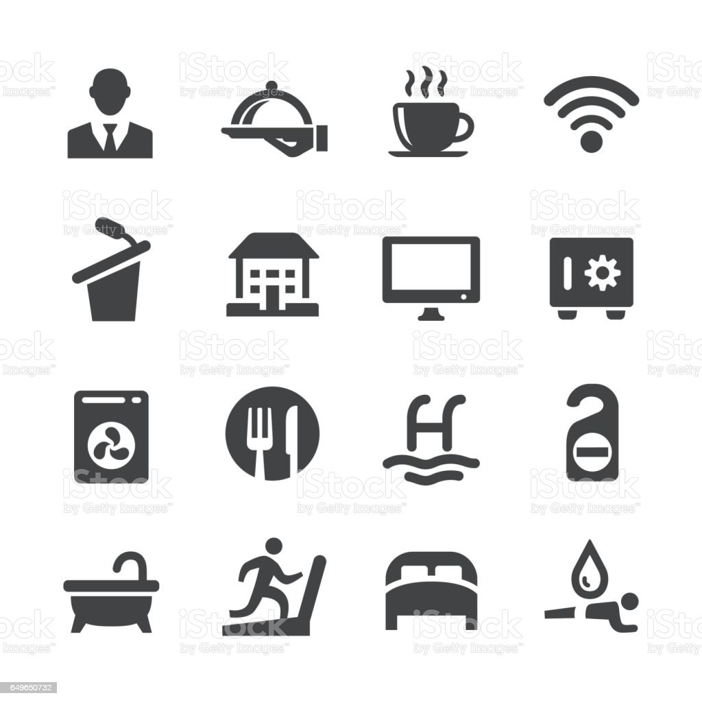 Hotel Icons Set - Acme série - Illustration vectorielle