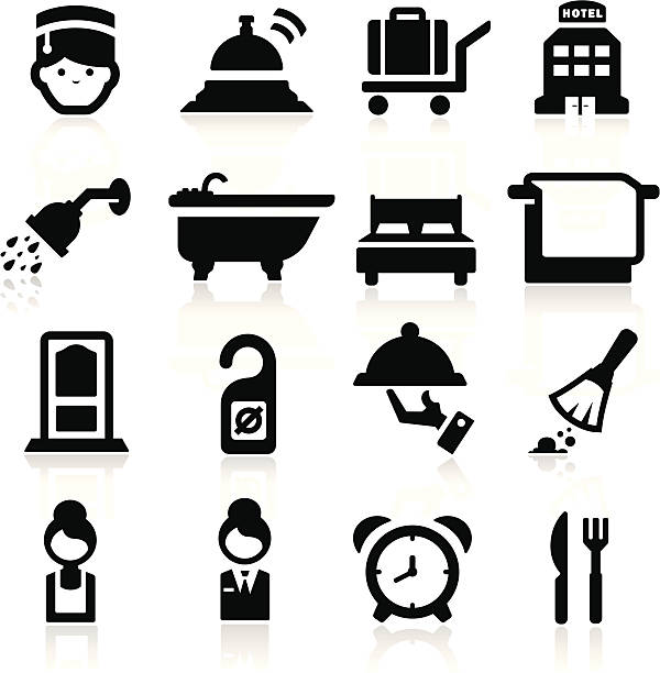 hotel icons set elegante serie - betttablett stock-grafiken, -clipart, -cartoons und -symbole