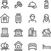 Hotel Icons Set - Line Series