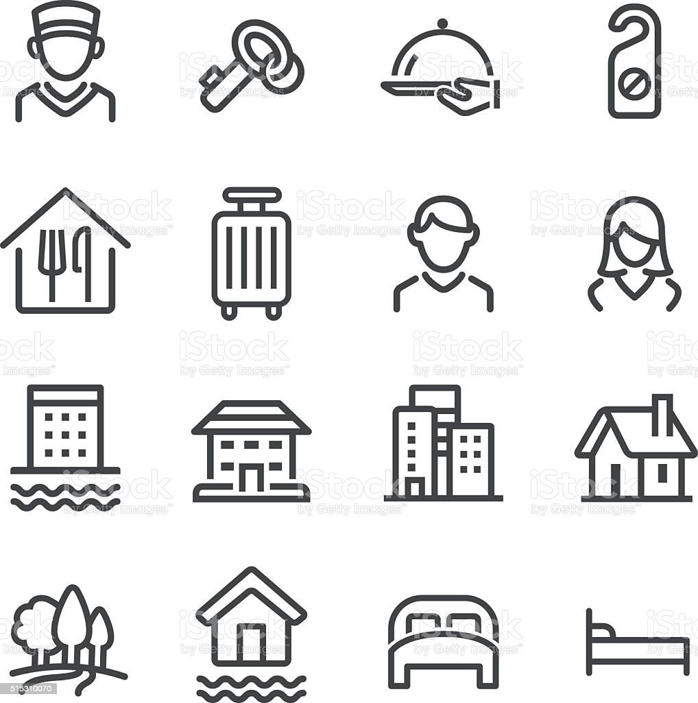 Hotel Icons Set - Line Series vector art illustration