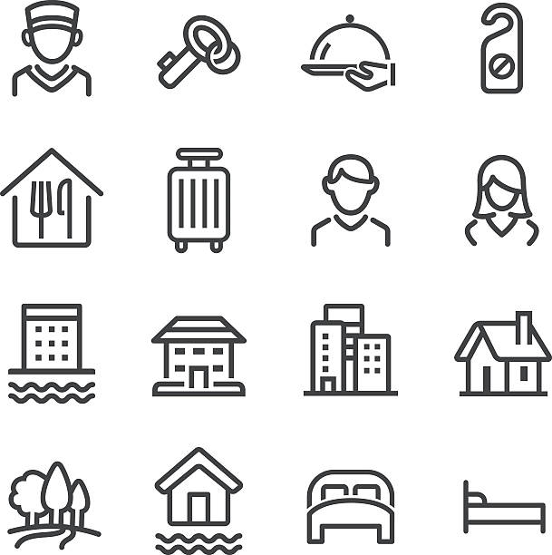 hotel symbole set-line serie - villas stock-grafiken, -clipart, -cartoons und -symbole