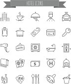 hotel icons,  set of vector thin line icons